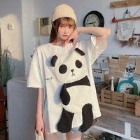 Women Loose T Shirt Blouse Panda Cute Short Sleeve Tee Top Casual Harajuku White