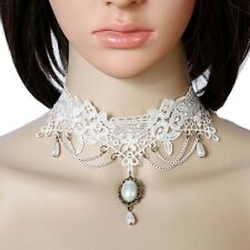 Women White Bridal Lace Necklace Collar Choker Victorian  Gothic Chain Pendant