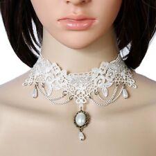 Women White Bridal Lace Necklace Collar Choker Victorian  Gothic Chain Pendant