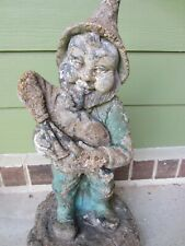 rare antique concrete gnome playing bagpipes garden yard statue 21 in.