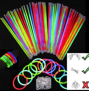 """25pcs x 8"""" Glow Sticks Bracelets Necklaces Party Favours Neon Colour Kids Toy UK"""