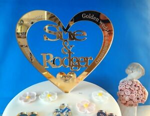 Personalised GOLD WEDDING ANNIVERSARY mirror acrylic cake topper 50th decor