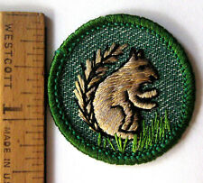Vintage Girl Scout Mammal Badge Land Animal Squirrel Patch Light Green 1955 Only