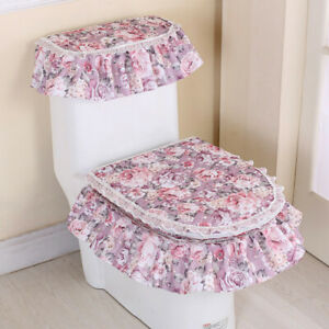 3x Floral Toilet Seat Cover Closestool Tank Top Cover Zip Lid Pad Bathroom Home