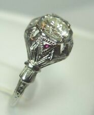 Antique Art Deco Vintage Diamond Engagement 18K White Gold EGL USA Ring Sz 7.75