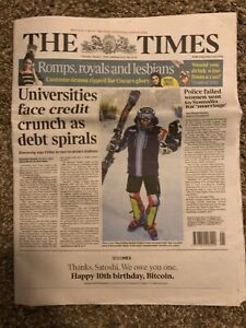 Bitcoin The Times 10 Year Anniversary Newspaper Like Casascius Lealana VERY RARE