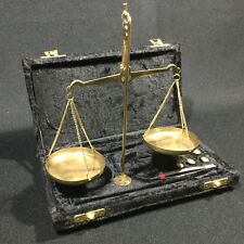 Vintage Brass Hanging Balance Scale Made in India 50g Weights Set Apothecary