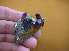 (R1-88) iridescent Aurora Crystal quartz titanium GEM gemstone Aura specimen