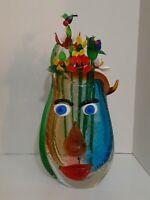 "Picasso Murano Art Glass Vase, 12"" Colorful Hand Blown Collectible Home Decor"
