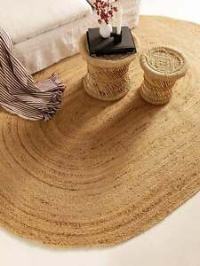 Rug 100% Natural Jute Braided Style Oval Rug Reversible Modern area Carpet Rugs