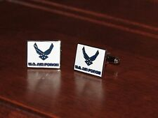U.S. Air Force Wings Chrome White & Blue Cuff Links NEW
