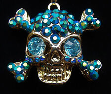 SKULL Head BIG AB Rhinestone Halloween Costume CROSS BONES Retro Necklace BLUE
