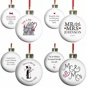 FIRST CHRISTMAS as MR & MRS 1st Christmas Married Gift Idea Personalised Baubles