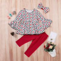 3PCS Newborn Baby Boys Girls Valentines Letter Tops+Pants Clothes Set US