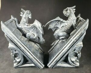 Gothic Castle Dragons Sculptural Bookends Desk Accessories Mystical Book