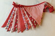 Fabric Bunting - Red White Green Stripes Polka Floral Party Decor 10ft