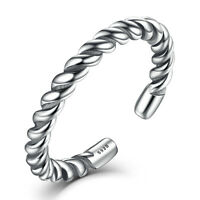 NEW Beautiful Women's 925 Sterling Silver Twist Band Ring Opening Adjustable