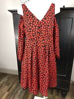 Disney Alice in wonderland Women Medium Red Heart Open Shoulder Sheath Dress X