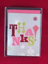 10 Pack Hallmark Christmas Thank you Cards with Envelopes - Pink Grey Green NIB