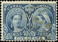 1897 Used Canada 5c F+ Scott #54 Diamond Jubilee Stamp