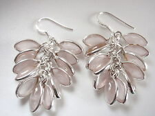 Rose Quartz Marquise Cluster 925 Sterling Silver Dangle Earrings