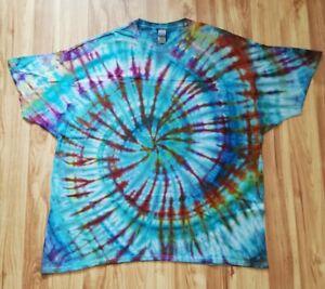 Handmade tie dye t shirt 100% cotton trippy spiral blue purple rainbow XXXL 3XL