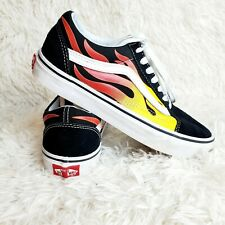 Vans Old Skool Red Yellow Flames Black Shoes Men's Size 5.5 Women's Size 7 Skate