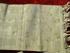Ceinture ou large ruban ancien (XIXé) moire de soie brochée 2,36 m x 16 cm