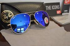 RAY BAN Aviator Polarized Gold Frame Blue Flash Lens Sunglasses 58mm RB3025