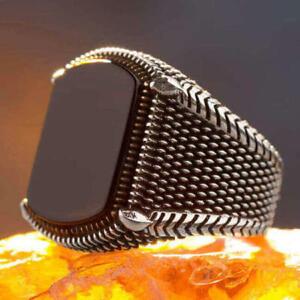 Herrenring silber 925 mit schwarzem onyx stein Quadrat Edelstein ring