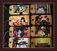 CRAZY CATS  PRIMITIVE HANG TAGS - EIGHT DIFFERENT DESIGNS - ADORABLE