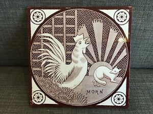 "c1870 Aesthetic period tile - T & R Boote - ""Morn"" cockerel & rising sun design"