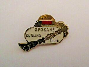 VINTAGE SPOKANE CURLING CLUB SPORTS PIN > CURLING ROCK & BROOM <