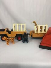 Fisher Price Safari Jeep Trailer Tent Cages Animals