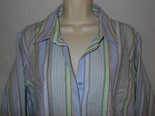 Blouse Talbots 16W Womens 1X Shirt Striped Green Pink Blue Stretch Top 6p123