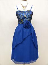 Cherlone Bleu Prom Party bal de mariage Soirée Longueur Genou demoiselle d'honneur robe 16-18