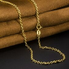 Pure Solid Au750 18K Yellow Gold Women's Cable Chain Necklace Xlee