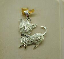 Sterling Silver Fancy Cat Shape W/Etched Features Design Pendant#Fme764