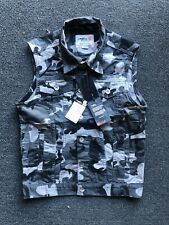 NWT Mens Gray Camo Vest 100% Cotton Cargo Military Biker Safari Hiking Casual