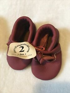 Starry Knight Design Baby T-Strap With Bow Moccs Moccasins Shoes Soft Sole 2/6mo