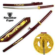 Snake Eye Tactical Burgundy & Gold Dragon Designed Samurai Katana Sword