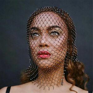 Women Mesh Bling Rhinestone Head Scarf Crystal Veil Mask Party Music Festival