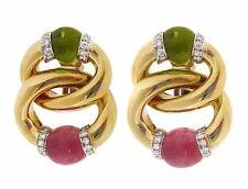 Peridoto & TURMALINA ROSA & Diamante 18ct Oro Amarillo Eslabón Pendientes -