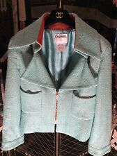 Authentic Chanel Jacket  01P Blue&White Tweed /Genuine Leather Lined Collar