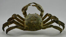 Collectible Old Vintage Handwork Bronze Carved Crab 8 Side Bring Money Statues