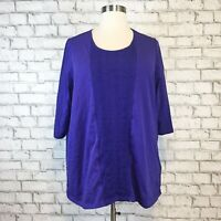 Catherines Women's Purple 3/4 Sleeve Pullover Blouse Top Shirt SIze 1X 18/20W