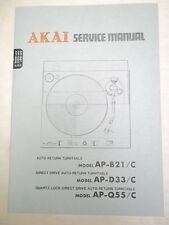 Vtg Akai Service/Repair Manual~AP-B21/C /D33/Q55 Turntable~Original