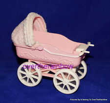 Mattel 1998 Tiny Steps Barbie Kelly Doll Pink White Baby Buggy Carriage Stroller