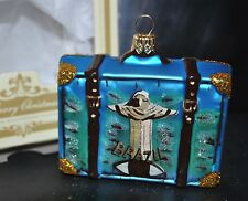 NEW IMPULS Glass Christmas Ornament CITY SCENES SUITCASE BRAZIL IPANEMA Poland