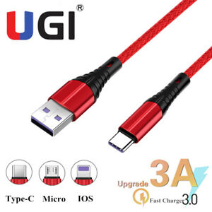0.25/1/2/3M 3A Micro USB IOS Type-C Charger Cable Fast Charging Data Sync Cord